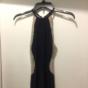 XSCAPE Navy Crystal beaded gown